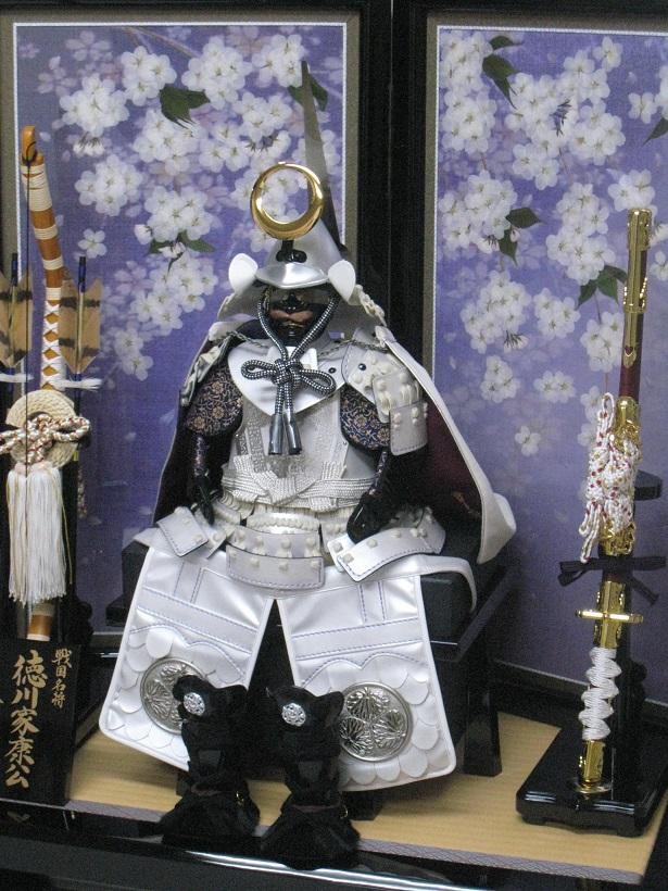 五月人形 7号徳川家康(白虎)鎧飾り 雄山 二曲押花屏風