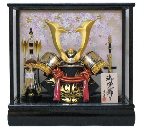 五月人形 10号中鍬角兜ケース飾り YN5303GKC しだれ桜 木製弓太刀 五月人形ケース 兜飾り カブト