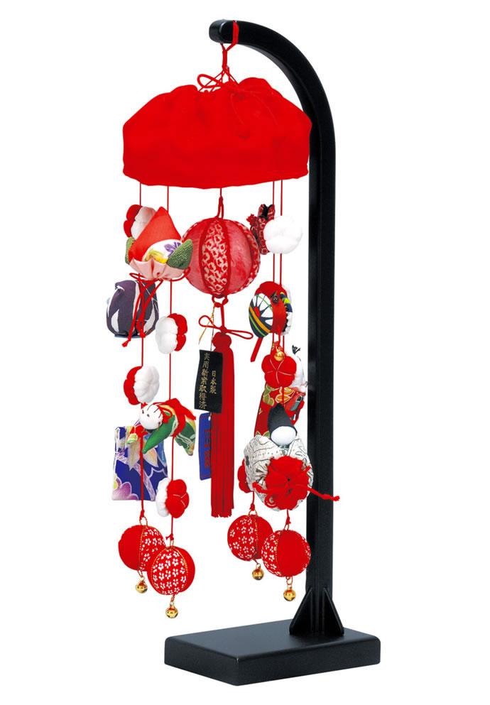 つるし雛 つるし飾り 正絹小雪 332347 高さ41cm スタンド付 吊るし雛 吊るし毬 さげもん ひな人形 お祝い品