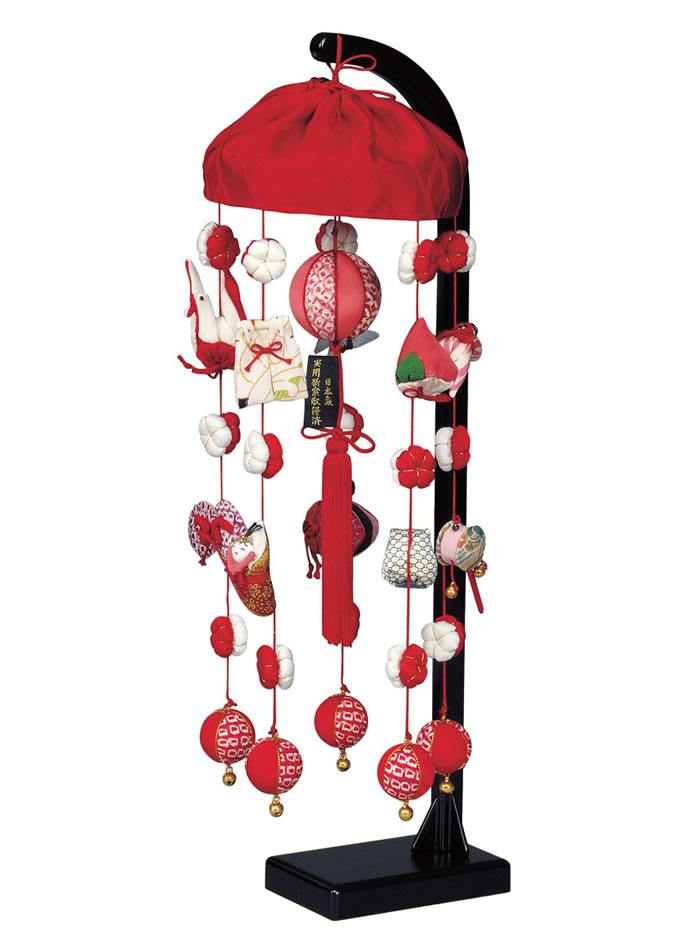 雛人形 つるし雛 つるし飾り 正絹 332348 高さ47cm スタンド付 吊るし雛 吊るし毬 さげもん ひな人形 お祝い品 送料無料