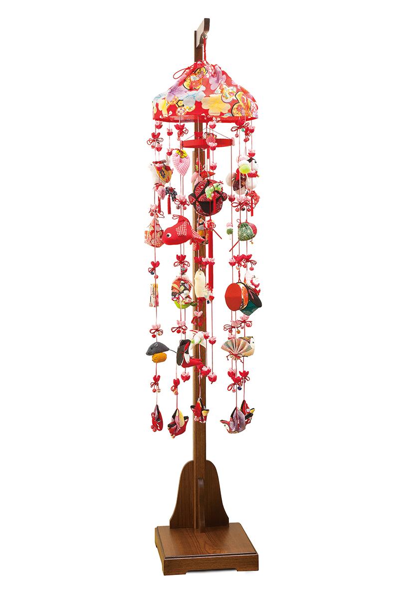 雛人形 つるし雛 つるし飾り 正絹 332345 高さ150cm 伸縮式スタンド付 吊るし雛 吊るし毬 さげもん ひな人形 お祝い品 送料無料