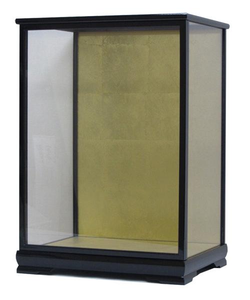 人形ケース ガラスケース 間口38×奥行29×高さ52cm ケース内寸 店 舗 市松人形 日本人形 黒塗足付
