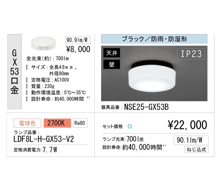 アイリスオーヤマ マンション共有廊下 器具電球セット ボディー:ブラック 電球色 nse25-gx53b-ldf8l-h-gx53-v2
