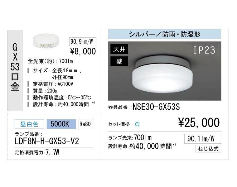 【1月下旬発送予定】アイリスオーヤマ マンション共有廊下 器具電球セット ボディー:シルバー 昼白色 nse30-gx53s-ldf8n-h-gx53-v2