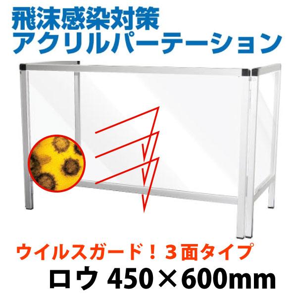 飛沫感染防止パーテーションスタンド450*900 三面タイプ