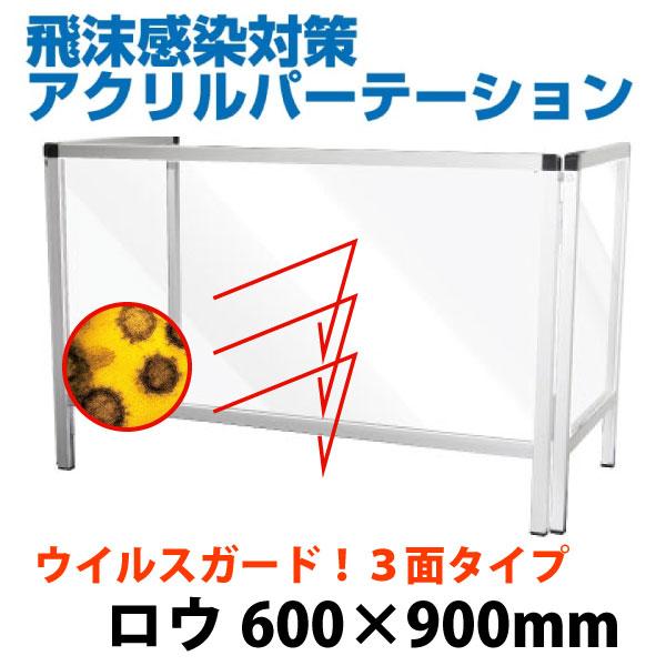 飛沫感染防止パーテーションスタンド600*900 三面LOWタイプ