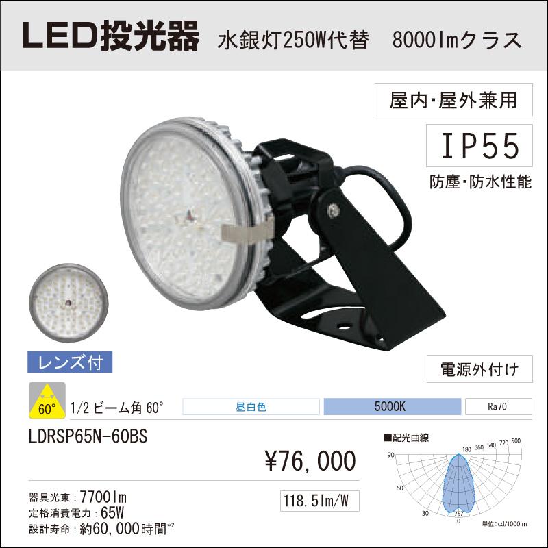 屋内・屋外用 LED投光器 アイリスオーヤマLED投光器 水銀灯250W代替 8000Lmクラス ビーム角:60° 昼白色 LDRSP65N-60BS