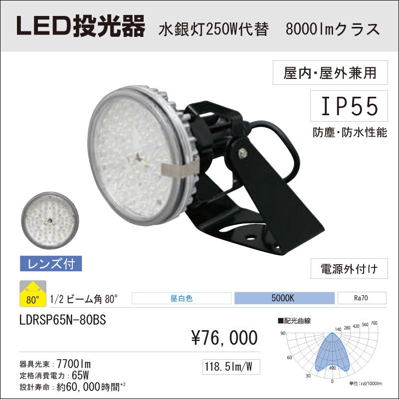 屋内・屋外用 LED投光器 アイリスオーヤマLED投光器 水銀灯250W代替 8000Lmクラス ビーム角:80° 昼白色 LDRSP65N-80BS
