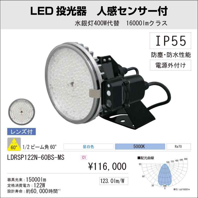 屋内・屋外用 アイリスオーヤマLED投光器 人感センサー付 水銀灯400W代替 16000Lmクラス ビーム角:60°昼白色 LDRSP122N-60BS-MS