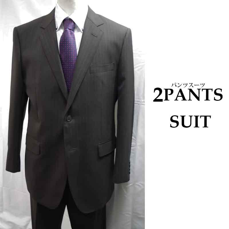ビジネススーツ ブラック ストライプ 2ボタン 2パンツスーツ AB8