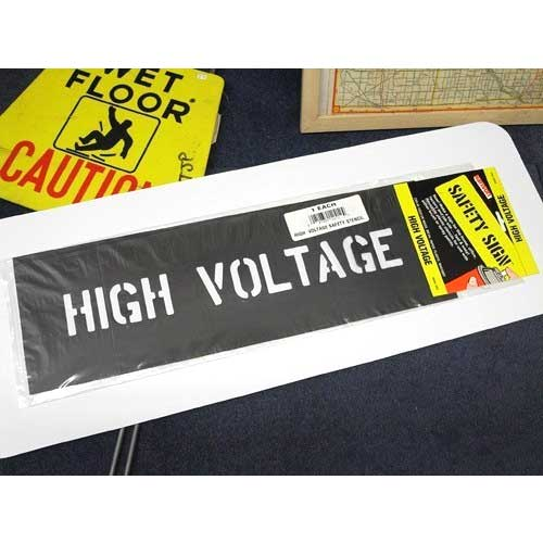定番メッセージを簡単にステンシル ステンシルプレート HIGH VOLTAGE 至高 HANSON アメリカン雑貨 stencils 贈答 高電圧