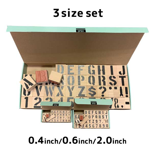 ステンシル スタンプ ハンコ 印鑑 セット [0.4+0.6+2.0インチ] DIY アメリカン雑貨