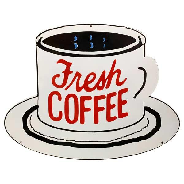 フレンチ ホーロー看板 Fresh COFFEE [大 Lサイズ] フレッシュコーヒー 琺瑯 CAFE カフェ アメリカン雑貨