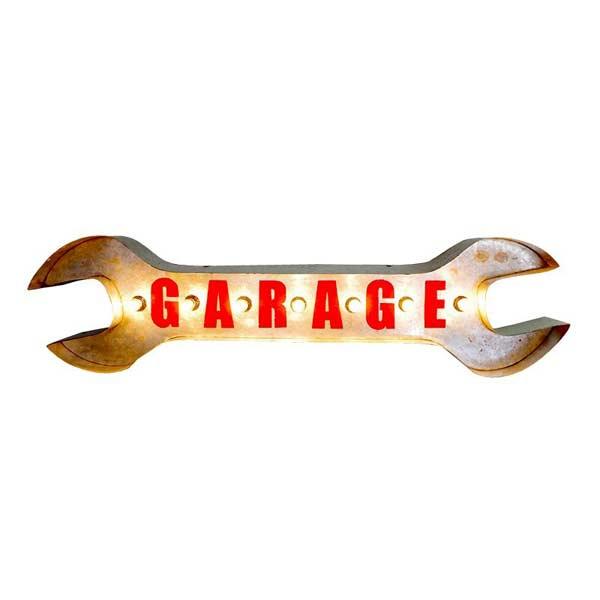 ブリキ 電飾看板 ガレージ サイン [シルバー] ガルバタイプ GARAGE SIGN サインライト 看板 アメリカン雑貨 アメ雑