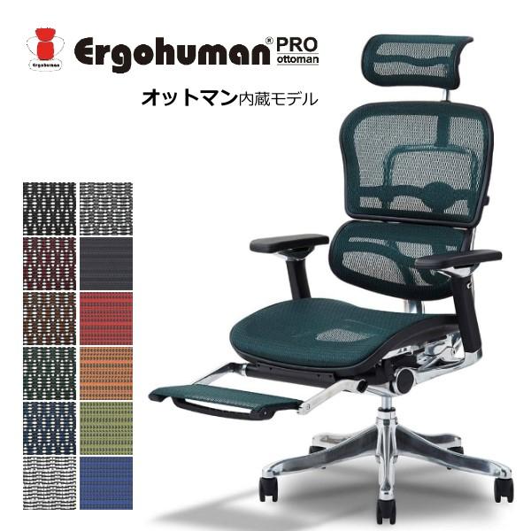エルゴヒューマン プロ オットマン デスクチェア 事務椅子 エラストメリックメッシュ 3Dファブリックメッシュ エルゴノミクス チェア 関家具 オットマン付き リクライニングチェア オフィス パーソナルチェア Ergohuman Pro ottoman