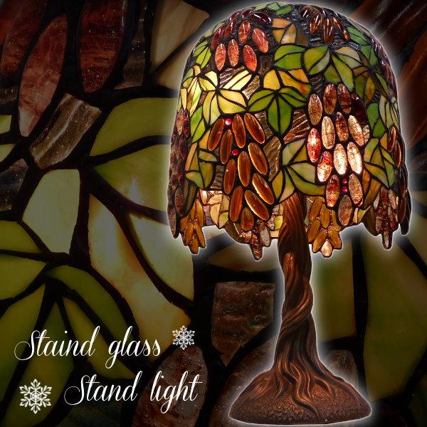 ステンドグラス ランプ テーブルスタンドライト [ブドウ] ぶどう 葡萄 卓上ライト 間接照明 エレガント クラシカル レトロ アンティーク ハンドメイド インテリア照明 きれい 豪華