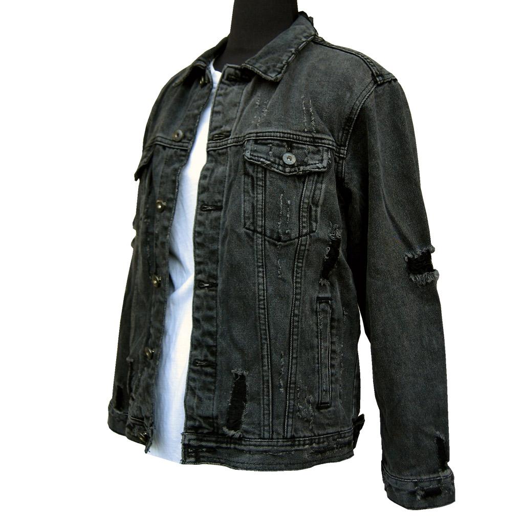 デニムジャケット Gジャン ダメージ/クラッシュ加工 ブラックデニム【送料無料】