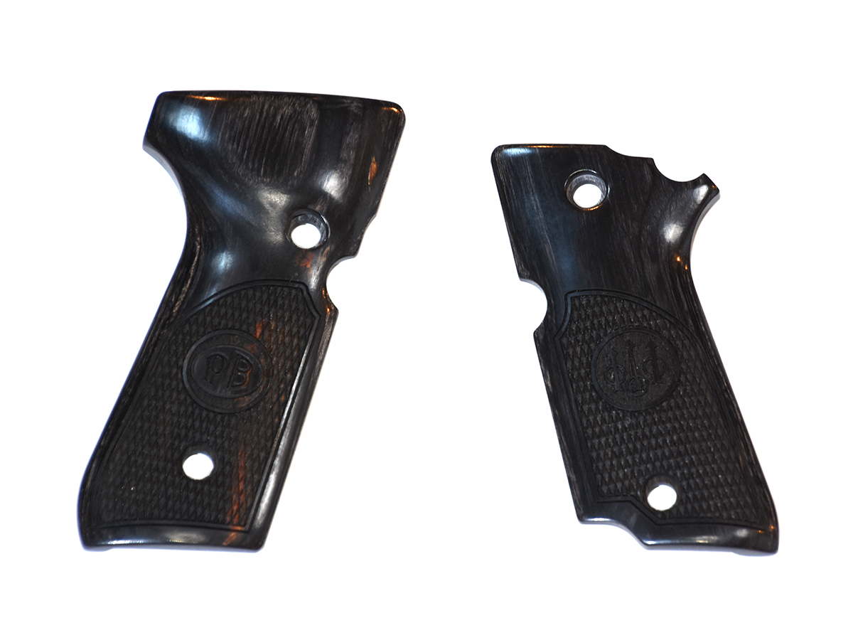 アルタモント ベレッタ M93R用 チェッカー ロゴ入り 木製グリップ 黒色(ブラック) <Altamont><Beretta>