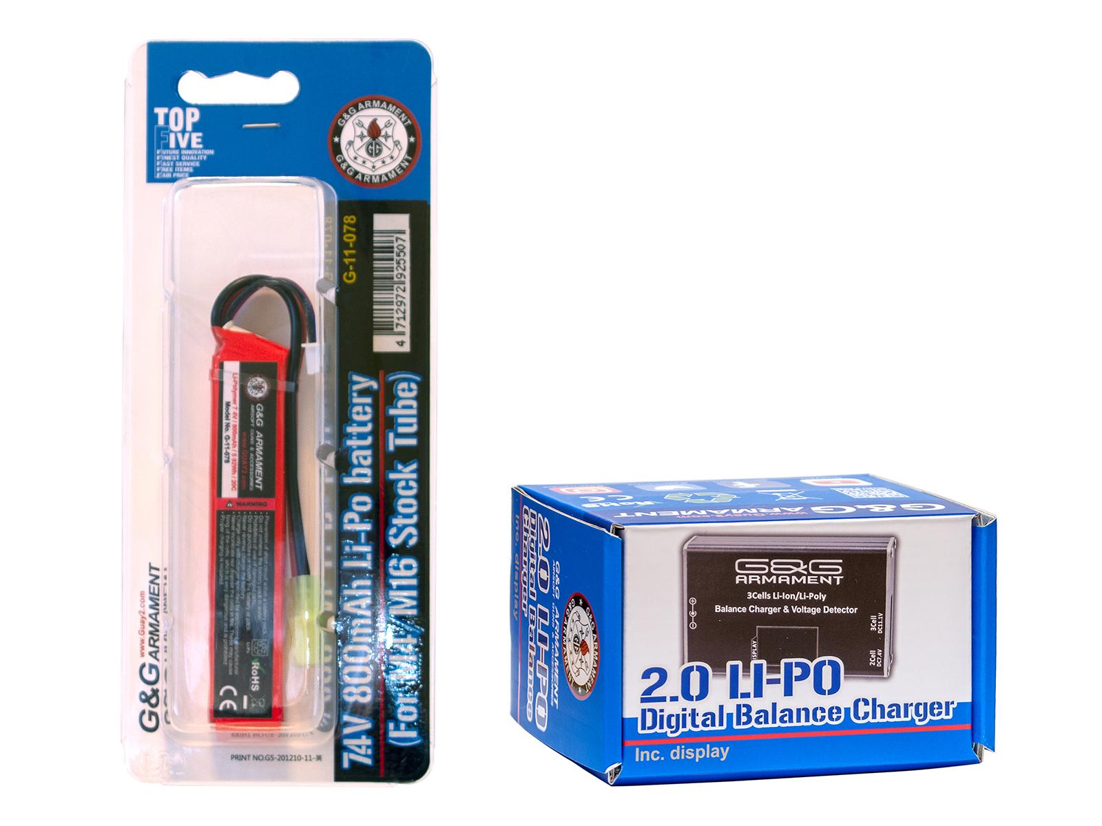 G&Gアーマメント 7.4V/800mAh/20C リポバッテリー(G-11-078)・リポバッテリー専用充電器(G-11-148)セット
