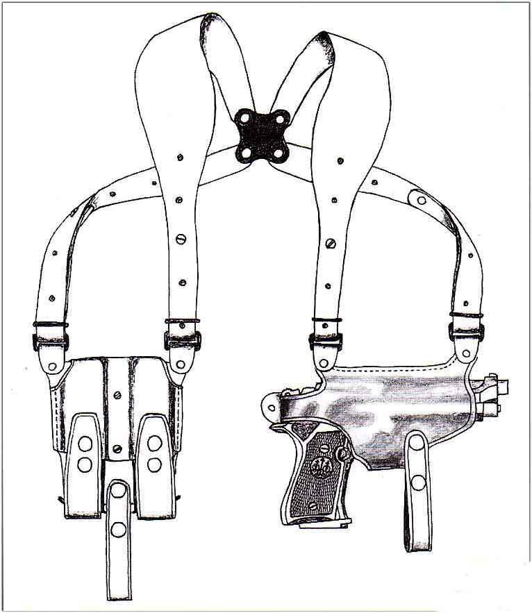 イーストA NO.281 - ブラック - ワイドハーネスタイプ・Wマグパウチ付き ホリゾンタルシルエット・ショルダーホルスター(牛革製)