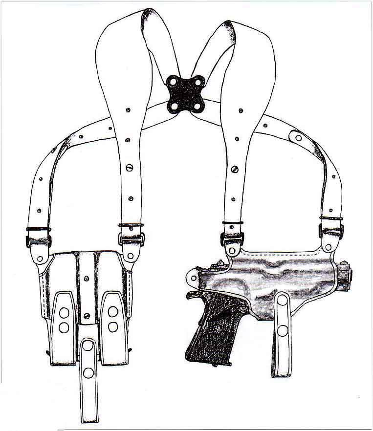 イーストA NO.282 - ブラウン - ワイドハーネスタイプ・Wマグパウチ付き ホリゾンタルシルエット・ショルダーホルスター(牛革製)