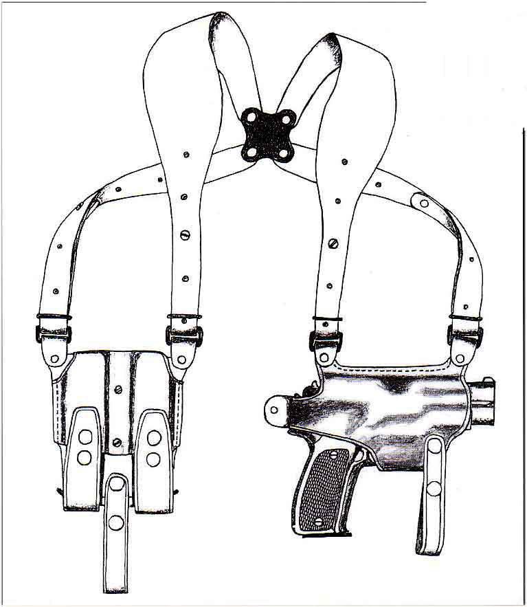 イーストA NO.283 - ブラウン - ワイドハーネスタイプ・Wマグパウチ付き ホリゾンタルシルエット・ショルダーホルスター(牛革製)