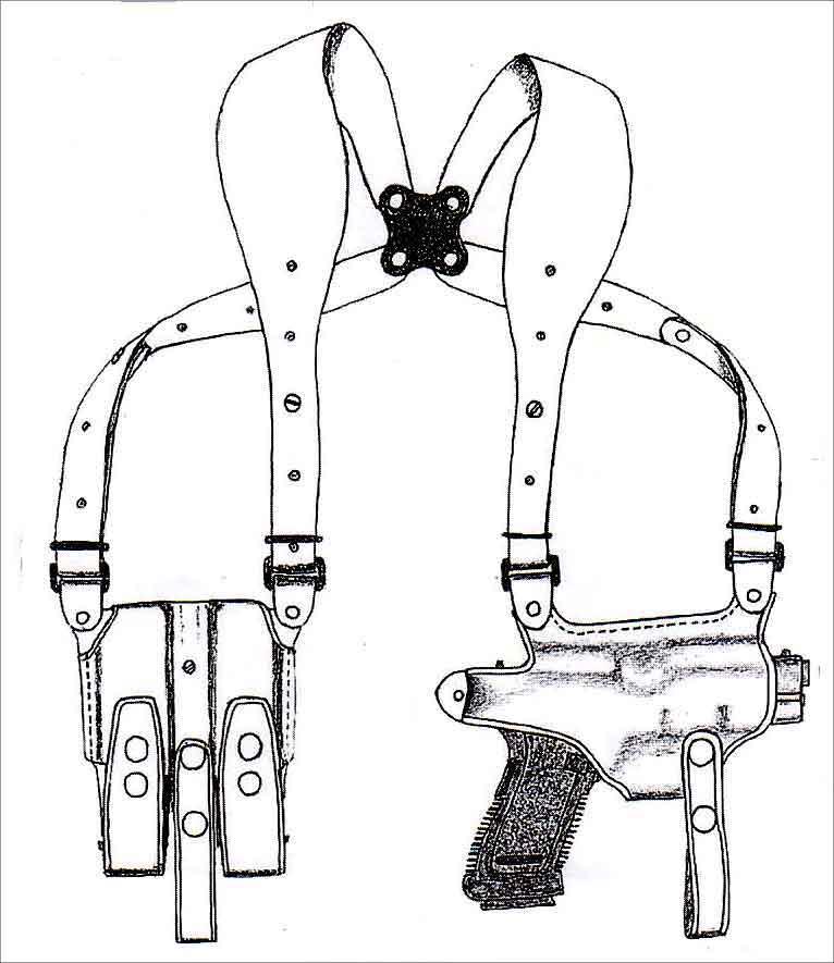 イーストA NO.285 - ブラウン - ワイドハーネスタイプ・Wマグパウチ付き ホリゾンタルシルエット・ショルダーホルスター(牛革製)