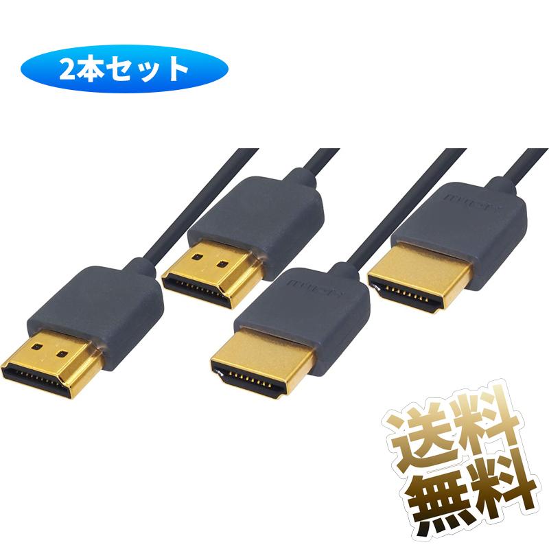 4K コード ケーブル hdmi1.4 Playstation4 playstation3 playstation xbox one レコーダー テレビ パソコン 液晶 モニター 柔らかい 細いケーブル ハイスピード HDMI2.0 細い スリムケーブル HDMIケーブル 好評受付中 3840×2160 スリムタイプ グレー 2本セット 1.5m 希望者のみラッピング無料 4K対応 モニターケーブル