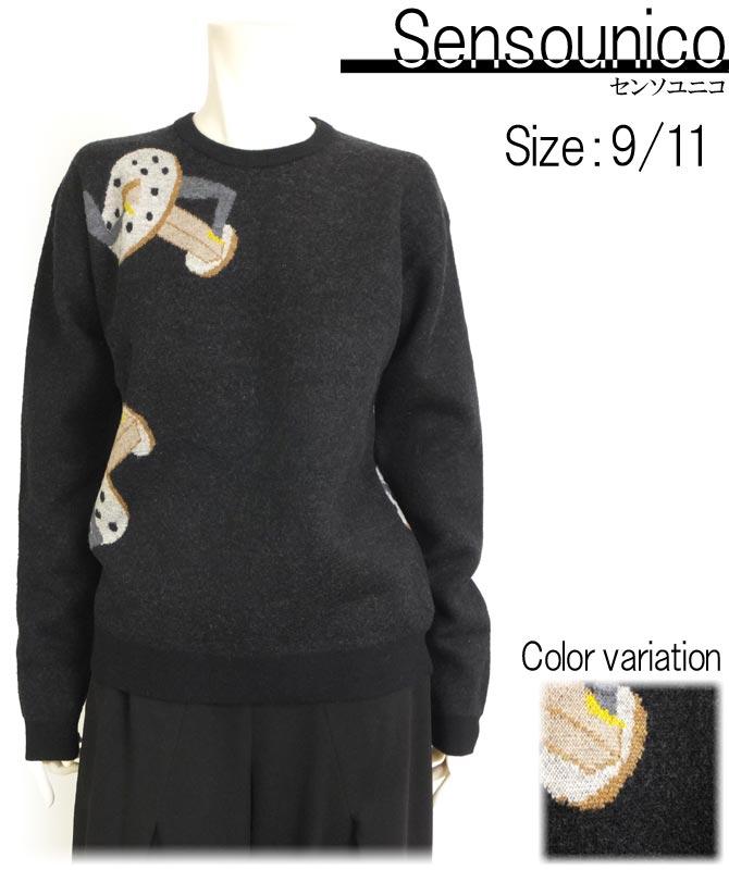 SALE70%OFF 目の詰まったしっかりとしたニット オンラインショッピング 編み込みのユニークな柄がポイント ブランド品 センソユニコ レディース圧縮ウールプルオーバー秋冬物 編み込みの柄 ドロップスリーブ しっかりとしたニット 長袖 カジュアル