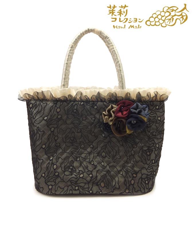 一部除き送料無料 茉莉コレクション レディース花刺繍チュールのバッグハンドメイド 軽量 日本製 花柄 チュール オーガンジー トートバッグ 鞄
