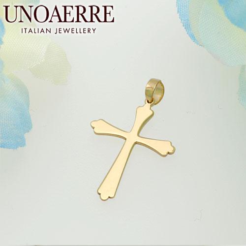 ウノアエレ【UNOAERRE】K18イエローゴールド ペンダントトップ クロス #1131