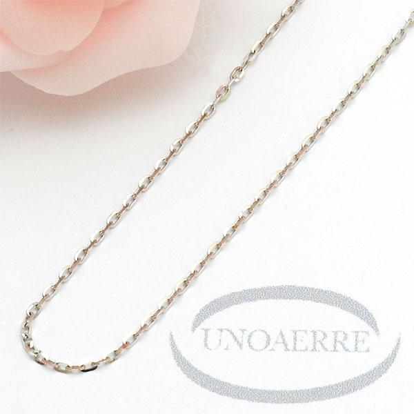 ウノアエレ【UNOAERRE】K18WG ホワイトゴールド ネックレス あずきチェーン #3070