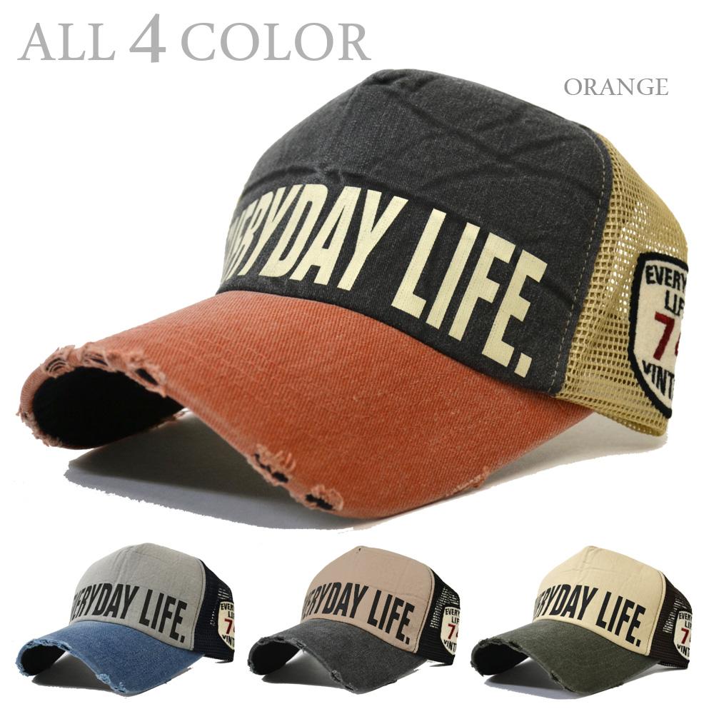 8f8e2f46fcfd7 帽子メッシュキャップダメージキャップCAP74ワッペン英字ロゴプリントフリンジ4色メンズメッシュUV