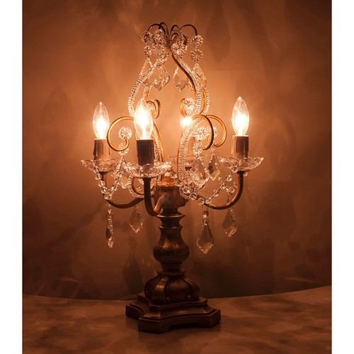 送料無料 LED電球対応 ガラスシャンデリア 4灯テーブルランプ ケウェウス2 新築 リフォーム 寝室 玄関 シャンデリア 照明 ランプ エレガント ヨーロピアン プリンセス クラシカル アンティーク