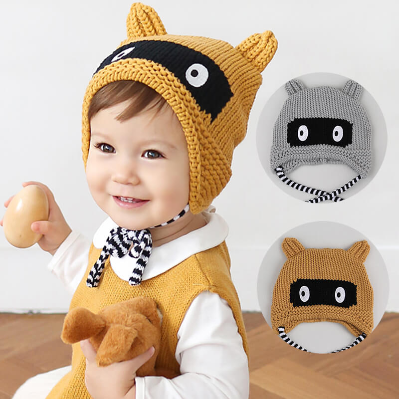 e8ba3198dc0b10 タヌキニット帽ニット帽子ボンボン付き暖かく可愛い帽子ニットキッズベビー子供赤ちゃん子供
