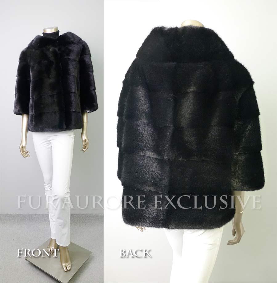 ブラックミンクワイドスタンドカラー七分袖ジャケット7gYfm6Ibyv