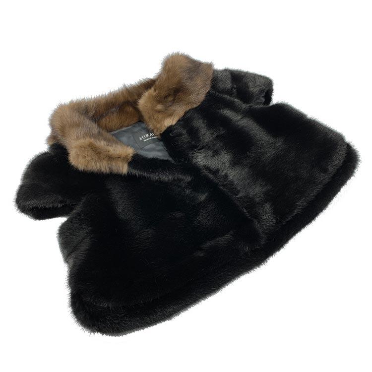 SAGAブラックミンクボレロジャケット ロシアンセーブル衿、サイドスリット