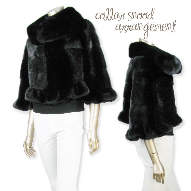 ご愛顧感謝 セレクトブラックミンク大衿フリル付デザインジャケット 一点物現品限りxtsrdChQ
