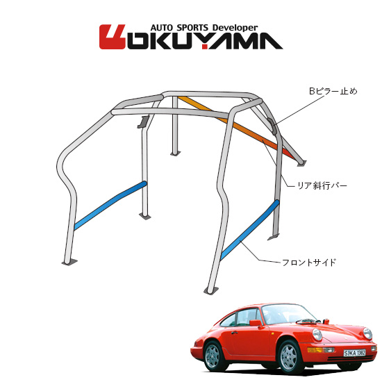 OKUYAMA オクヤマ OKUYAMA ロールバー スチール製 ポルシェ 911 964 左ハンドル [9P/No.12/2名] ダッシュボード逃げタイプ ※個人宅への配送不可、送料注意