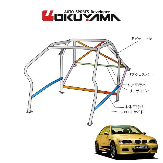 OKUYAMA オクヤマ OKUYAMA ロールバー スチール製 BMW E46 M3 BL32 サンルーフ [14P/No.16/2名] ダッシュボード逃げタイプ ※個人宅への配送不可、送料注意