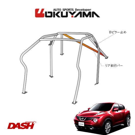 OKUYAMA オクヤマ DASH ロールバー スチール製 ジューク NF15 [7P/No.7/2名] ダッシュボード逃げタイプ ※個人宅への配送不可、送料注意