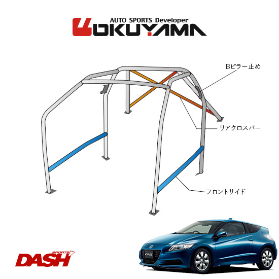 OKUYAMA オクヤマ DASH ロールバー スチール製 CR-Z ZF1 [10P/No.20/2名] ダッシュボード貫通タイプ ※個人宅への配送不可、送料注意