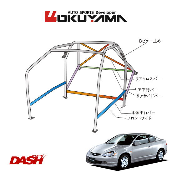 OKUYAMA オクヤマ DASH ロールバー スチール製 インテグラ DC5 [14P/No.16/2名] ダッシュボード貫通タイプ ※個人宅への配送不可、送料注意
