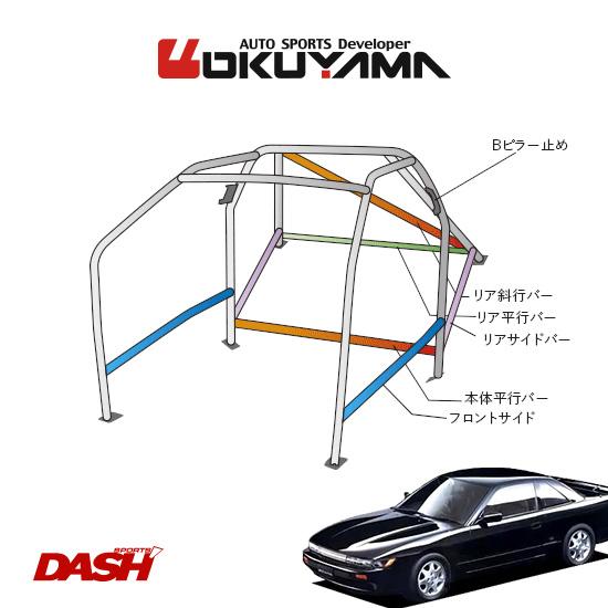 OKUYAMA オクヤマ DASH ロールバー スチール製 シルビア PS13/S13 [13P/No.15/2名] ダッシュボード貫通タイプ ※個人宅への配送不可、送料注意
