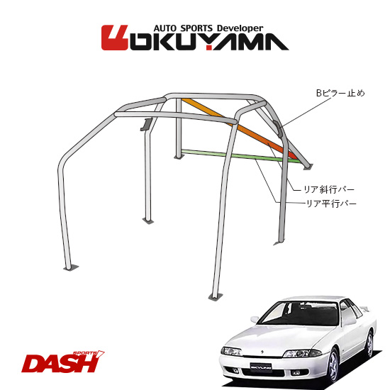 OKUYAMA オクヤマ DASH ロールバー スチール製 スカイライン R32 [8P/No.10/2名] ダッシュボード貫通タイプ ※個人宅への配送不可、送料注意