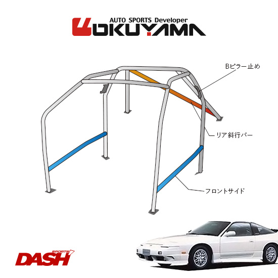 OKUYAMA オクヤマ DASH ロールバー スチール製 180SX RPS13/RS13 [9P/No.12/2名] ダッシュボード貫通タイプ ※個人宅への配送不可、送料注意