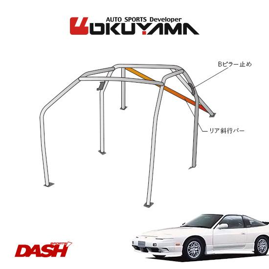 OKUYAMA オクヤマ DASH ロールバー スチール製 180SX RPS13/RS13 [7P/No.7/2名] ダッシュボード貫通タイプ ※個人宅への配送不可、送料注意