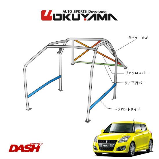 OKUYAMA オクヤマ DASH ロールバー スチール製 スイフトスポーツ ZC32S [11P/No.14/2名] ダッシュボード貫通タイプ ※個人宅への配送不可、送料注意
