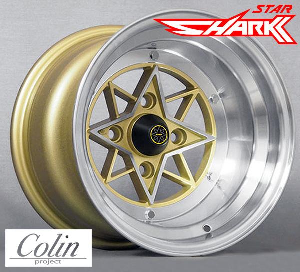 [COLIN PROJECT] 旧車ホイール STAR SHARK (スターシャーク) 復刻版 GOLD 14×9.0J 4H PCD114.3 -26 4本購入で送料無料