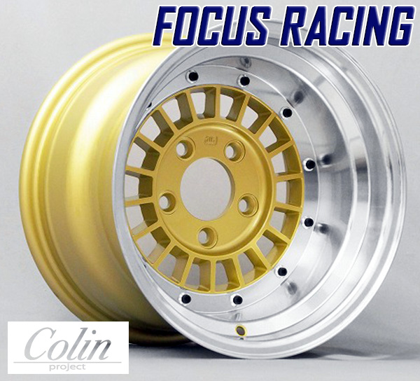 [COLIN PROJECT] 旧車ホイール フォーカスレーシング スポーク GOLD 14×9.0J 5H PCD114.3 -25 4本購入で送料無料
